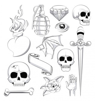 Tattoo studio old school drawings