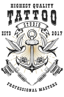 Tattoo studio poster template. crossed tattoo machines, anchor with swallows. for poster, print, card, banner.  image