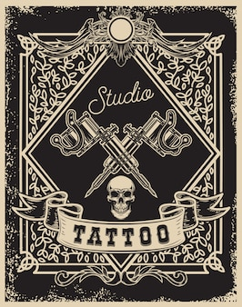 Tattoo studio poster template. crossed tattoo machines with skull. for poster, print, card, banner.  image