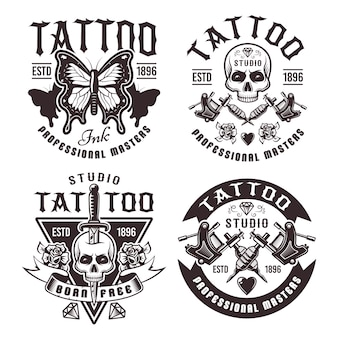 Tattoo studio set of four vintage emblems