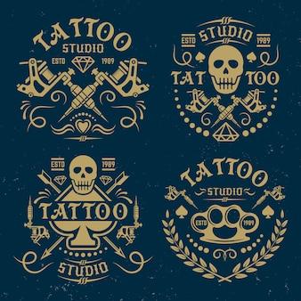 Tattoo studio set of vector vintage logos