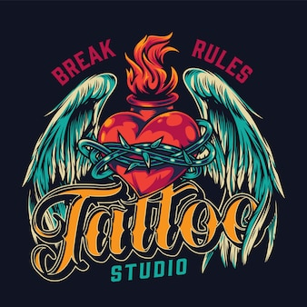 Tattoo studio vintage colorful bagde