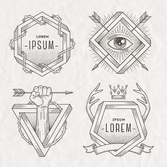 Tattoo style line art emblem with heraldic elements and impossible shape -  illustration