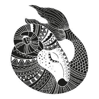 Стиль татуировки. силуэт козерога, изолированные на белом фоне. знак зодиака козерог