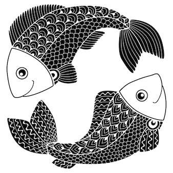 タトゥースタイル。矢印と白い背景で隔離の弓のベクトルシルエット。星座うお座。魚。抽象的な背景