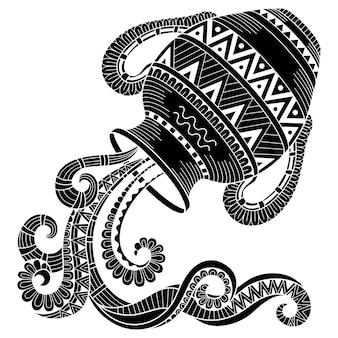 문신 스타일. 흰색 배경에 고립 된 용기의 벡터 실루엣입니다. 조디악 로그인 물병자리