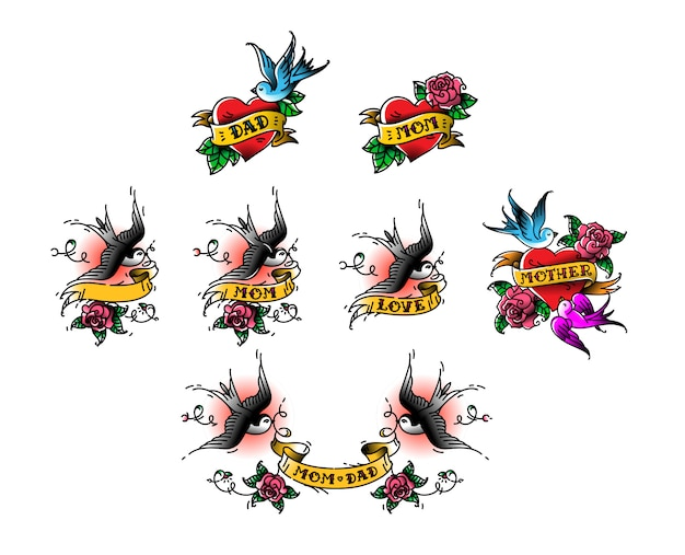 Tattoo swallows with the inscription of mom dad on tape. vector illustration.