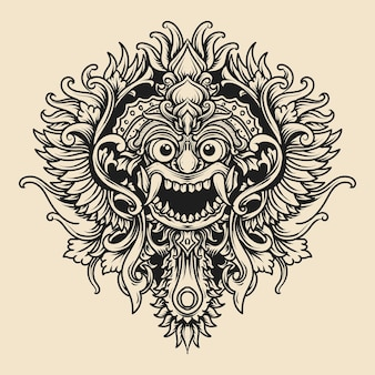 Tattoo and t-shirt  black and white hand drawn illustration balinese barong