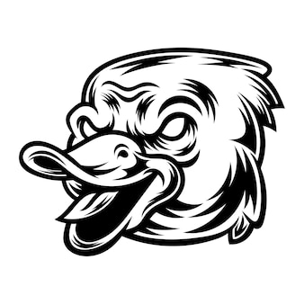 Tattoo and t-shirt design black and white duck illustration