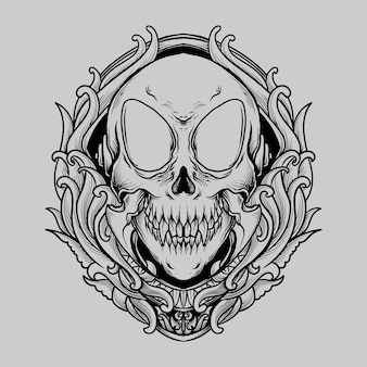 Tattoo and t shirt design black and white hand drawn alien skull engraving ornament