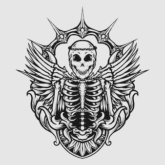 Tattoo and t shirt design black and white hand drawn angel skull engraving ornament