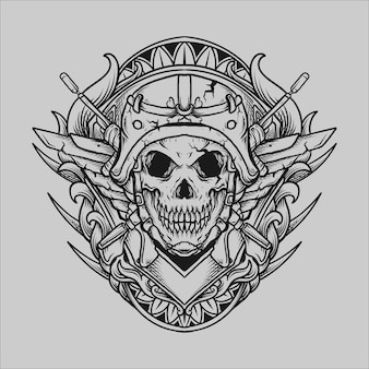 Tattoo and t shirt design black and white hand drawn army skull engraving ornament