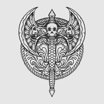 Tattoo and t shirt design black and white hand drawn axe skull