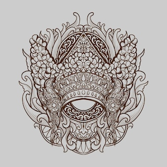 Tattoo and t shirt design black and white hand drawn balinese crown engraving ornament