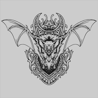 Tattoo and t shirt design black and white hand drawn bat engraving ornament