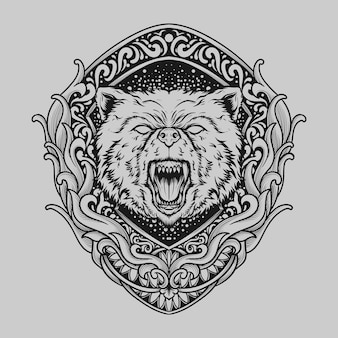 Tattoo and t shirt design black and white hand drawn bear engraving ornament