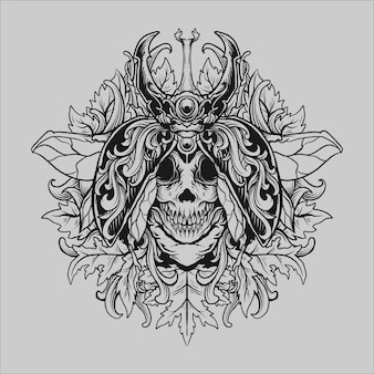 Tattoo and t shirt design black and white hand drawn beetle skull engraving ornament
