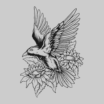 Tattoo and t shirt design black and white hand drawn bird and flower engraving ornament