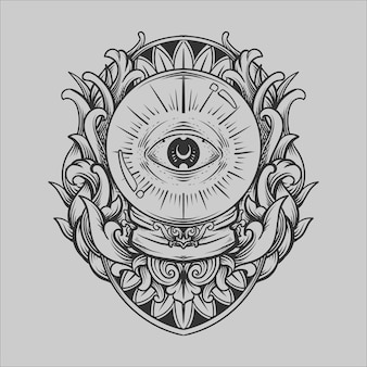 Tattoo and t shirt design black and white hand drawn crystal ball eye engraving ornament