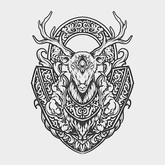 Tattoo and t shirt design black and white hand drawn deer engraving ornament
