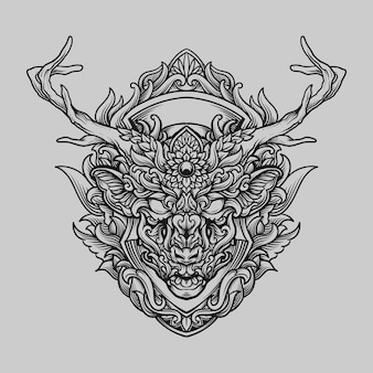Tattoo and t shirt design black and white hand drawn deer head engraving ornament