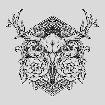 Tattoo and t shirt design black and white hand drawn deer and rose engraving ornament