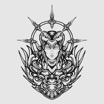 Tattoo and t shirt design black and white hand drawn devil queen engraving ornament
