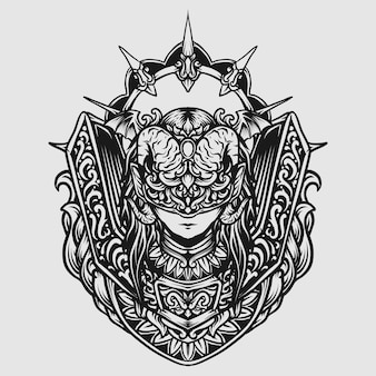 Tattoo and t shirt design black and white hand drawn devil women engraving ornament