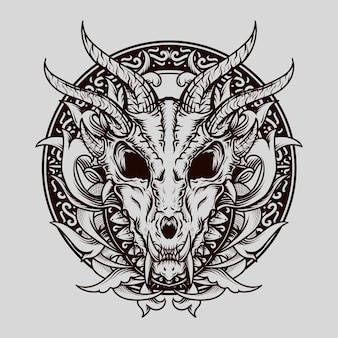 Tattoo and t-shirt design black and white hand drawn dragon skull engraving ornament