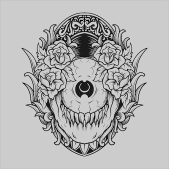 Tattoo and t shirt design black and white hand drawn eyeball skull and rose engraving ornament