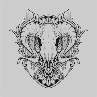 Tattoo and t shirt design black and white hand drawn goat skull engraving ornament