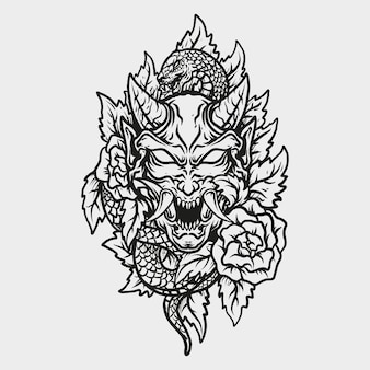 Tattoo and t shirt design black and white hand drawn hannya mask and rose