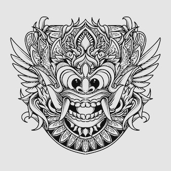 Tattoo and t-shirt design black and white hand drawn illustration barong engraving ornament