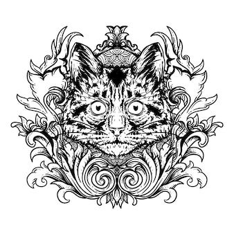 Tattoo and t-shirt design black and white hand drawn illustration cat head and engraving  ornament
