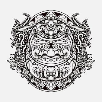 Tattoo and t-shirt design black and white hand drawn illustration daruma engraving ornament