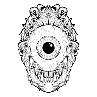 Tattoo and t-shirt design black and white hand drawn illustration eye ball engraving ornament