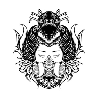 Tattoo and t-shirt design black and white hand drawn illustration geisha with gas mask engraving