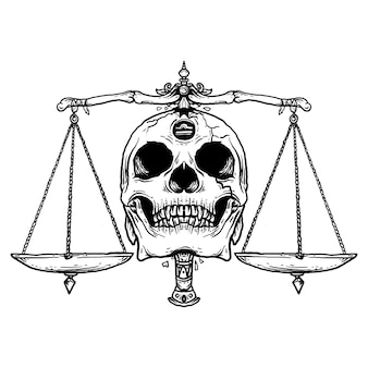 Tattoo and t-shirt design black and white hand drawn illustration libra skull zodiac