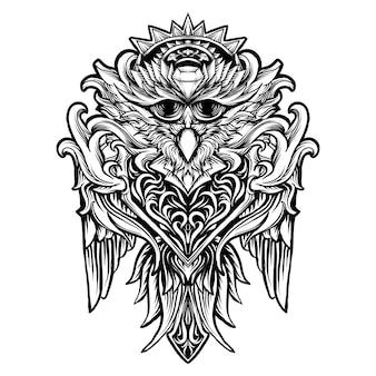 Tattoo and t-shirt design black and white hand drawn illustration owl bird engraving ornament