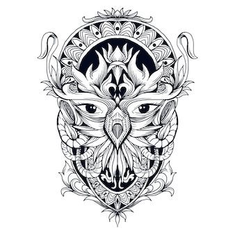 Tattoo and t-shirt design black and white hand drawn illustration owl head abstract ornament