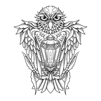 Tattoo and t-shirt design black and white hand drawn illustration owl and lantern
