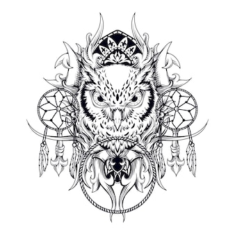 Tattoo and t-shirt design black and white hand drawn illustration owl with dream catcher engraving