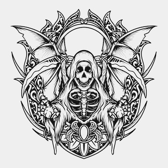 Tattoo and t-shirt design black and white hand drawn illustration reaper engraving ornament