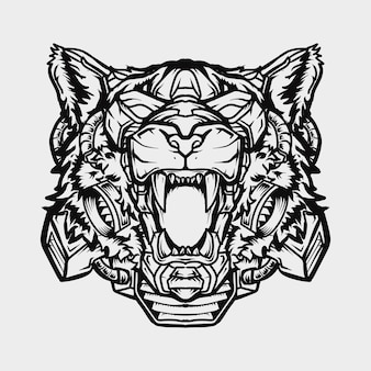 Tattoo and t-shirt design black and white hand drawn illustration robot tiger head
