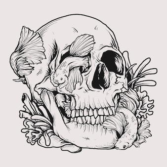 Tattoo and t-shirt design black and white hand drawn illustration skull and beta fish