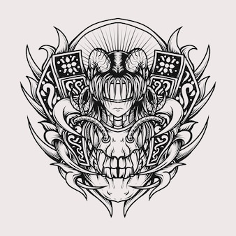 Tattoo and t-shirt design black and white hand drawn illustration skull and devil women engraving ornament