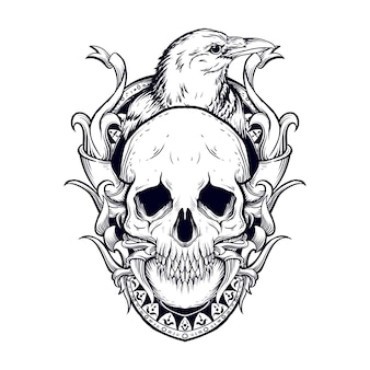 Tattoo and t-shirt design black and white hand drawn illustration skull and raven engraving