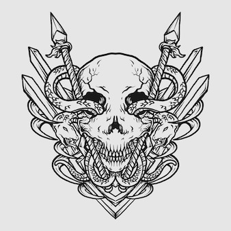 Tattoo and t shirt design black and white hand drawn illustration skull and snake with spear