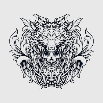 Tattoo and t-shirt design black and white hand drawn illustration skull and wolf engraving ornament
