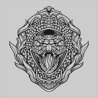 Tattoo and t shirt design black and white hand drawn illustration snake head engraving ornament